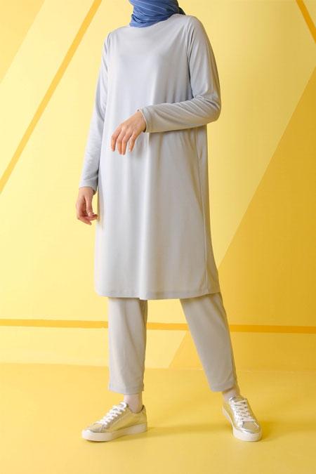 HE-QA Gri Uzun Kollu Basic Tunik