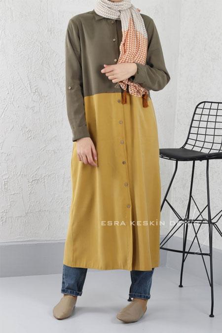 HE-QA Hardal Sarı Saga Tunik