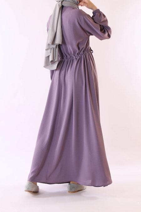 HE-QA Lila Beli Büzgülü Elbise