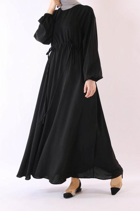 HE-QA Siyah Beli Büzgülü Elbise