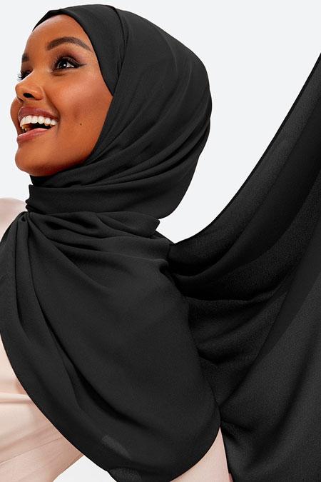 Halima X Modanisa Siyah Aden Krep Şal