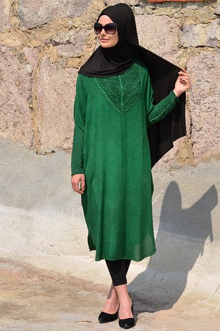 Henna Elısa Zümrüt Yeşili Organik Kumaş Salaş Tunik