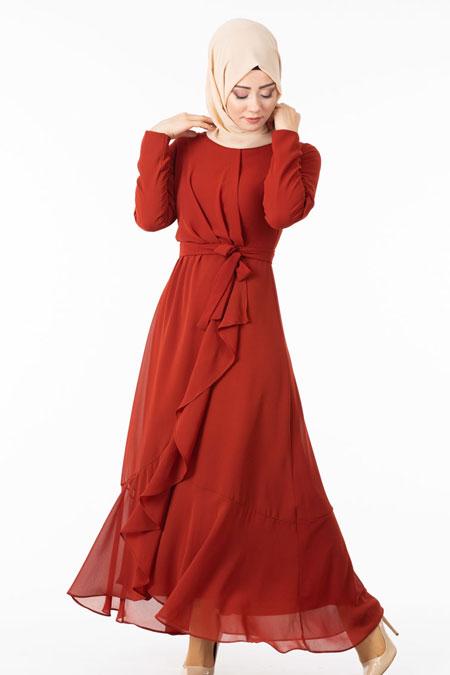 Kırmızı Şifonlu Çapraz Fırfırlı Tesettür Elbise