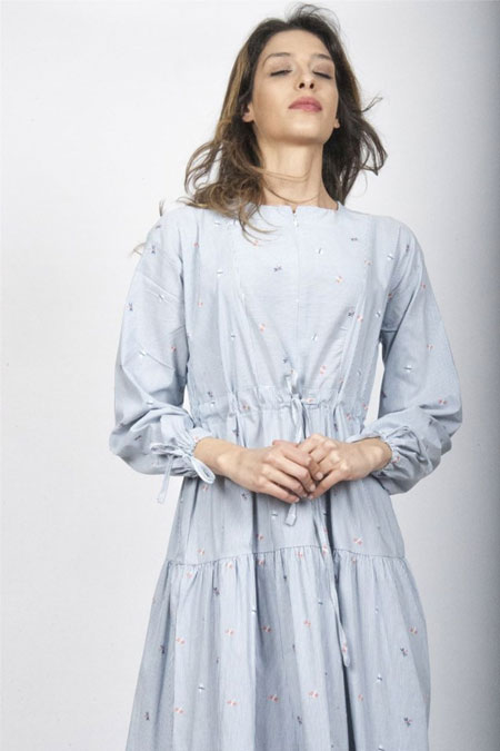 Manila Bebe Mavi Büzgü Detay Elbise