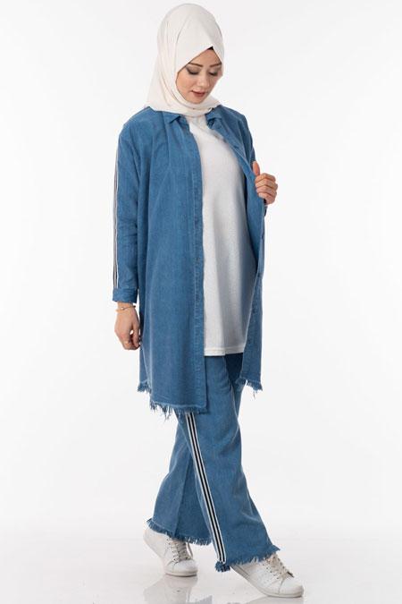 Mavi Kot Şeritli Tesettür İkili Takım