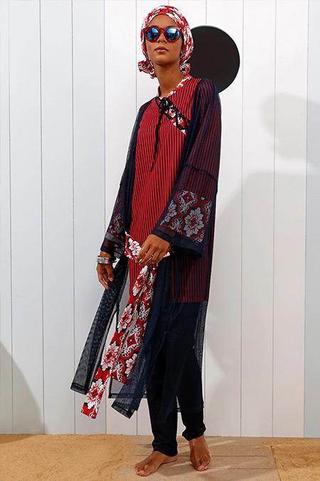 Mayovera Lacivert Bordo Kimono Desen Plaj Elbisesi