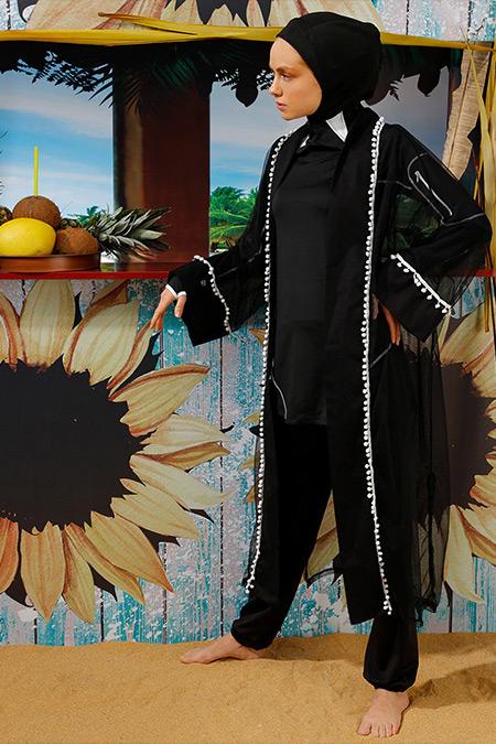 Mayovera Siyah Ponponlu Plaj Elbisesi