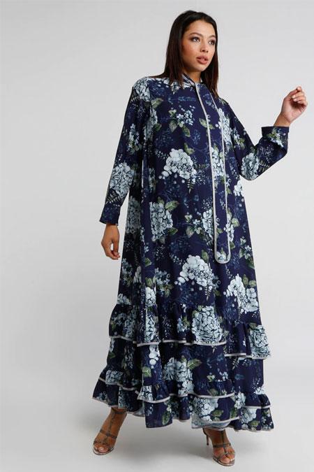 Miha Lacivert Eteği Volanlı Yaka Detaylı Elbise