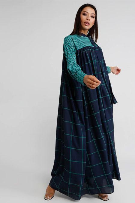Miha Lacivert Turkuaz Yaka Detaylı Desenli Elbise