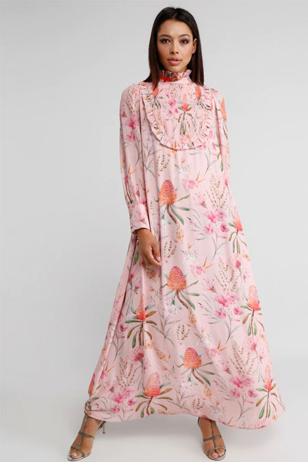 Miha Pudra Drape Detaylı Çiçek Desenli Elbise