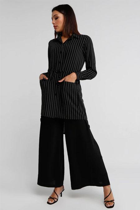Miha Siyah Çizgili Tunik & Pantolon İkili Takım