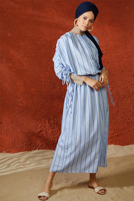 Mnatural Mavi Doğal Kumaşlı Çizgili Elbise