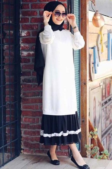 Moda Bahar Beyaz Tesettür Elbise