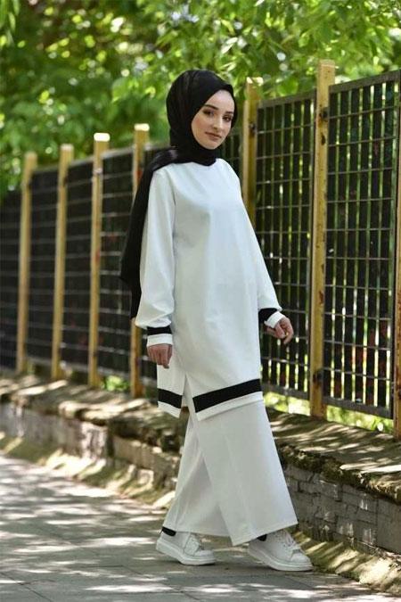 Moda Bahar Beyaz Tesettür Takım