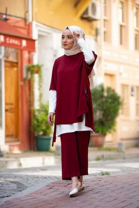 Moda Bahar Bordo Yarasa Kol Takım