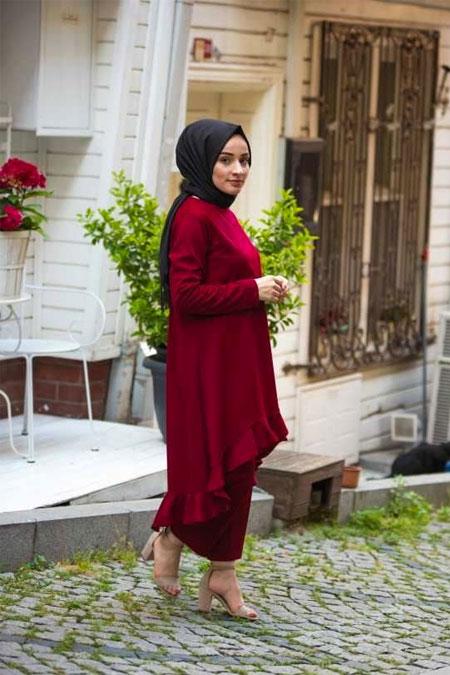 Moda Bahar Kiremit Fırfır Detaylı Takım