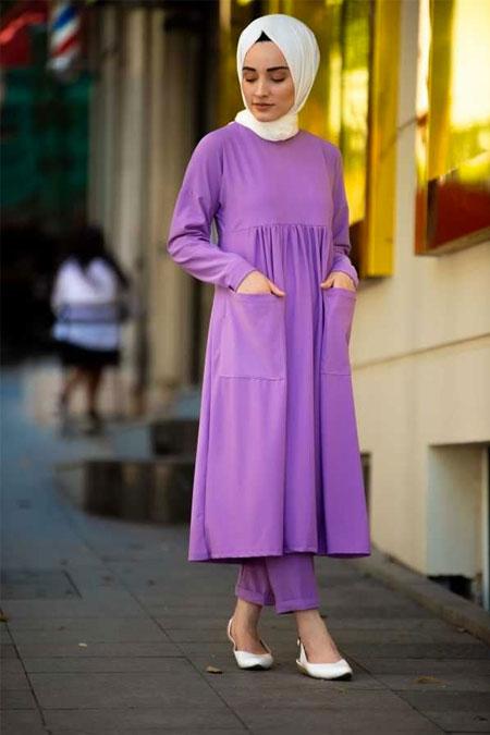Moda Bahar Lila Tesettür Tunik