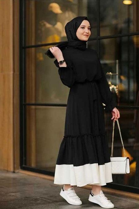 Moda Bahar Siyah Tesettür Elbise