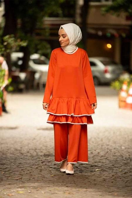 Moda Bahar Turuncu Elbise