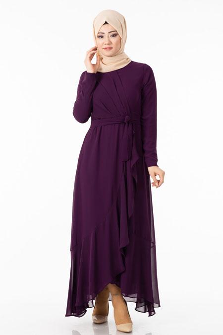 Mor Şifonlu Çapraz Fırfırlı Tesettür Elbise