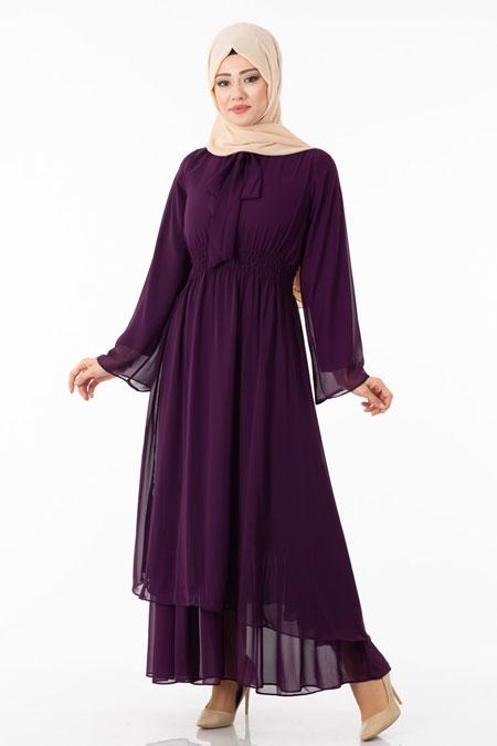 Mor Şifonlu Fular Detaylı Tesettür Elbise