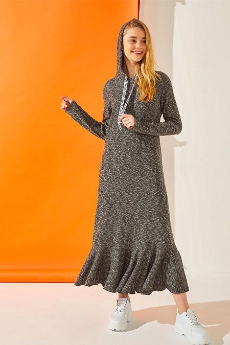 Muni Muni Gri Kapüşonlu Elbise