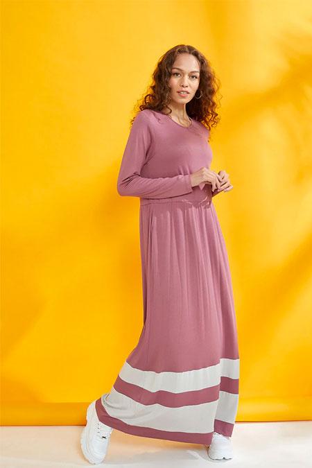 Muni Muni Vişne Doğal Kumaşlı Garnili Elbise
