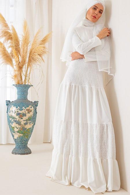 Mwedding Beyaz İnci İşlemeli Dantelli Abiye Elbise
