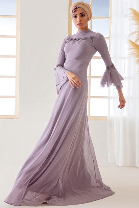 Mwedding Lila Güpür Detaylı Abiye Elbise