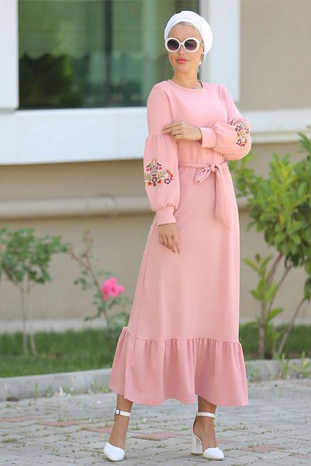 Myzen Pudra Nakış Kol Elbise