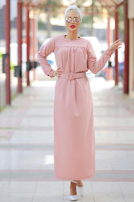 Myzen Pudra Robası Büzgülü Elbise