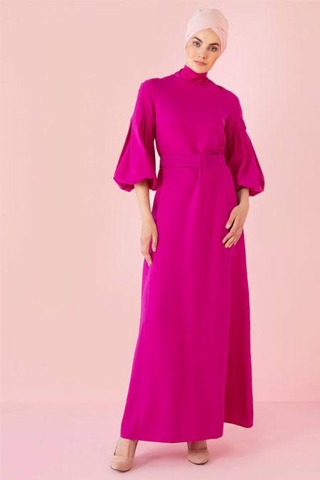 Nihan Peker Fuşya Balon Kol Detaylı Kemerli Elbise