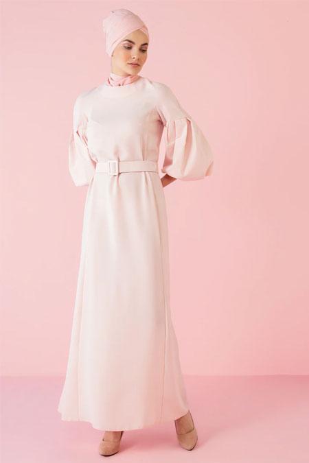 Nihan Peker Pudra Balon Kol Detaylı Kemerli Elbise