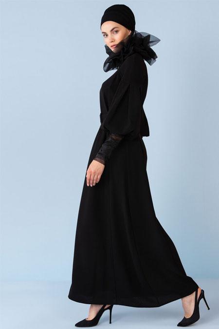 Nihan Peker Siyah Balon Kol Detaylı Kemerli Elbise