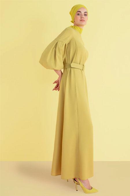 Nihan Peker Yeşil Balon Kol Detaylı Kemerli Elbise