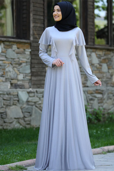 Rana Zenn Gri Bahar Elbise