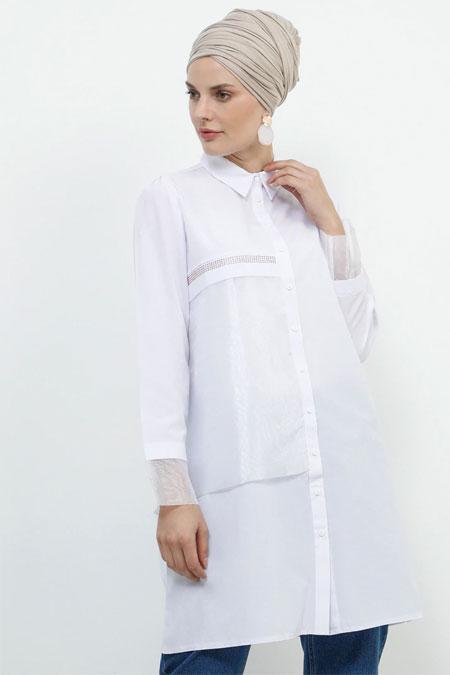 Refka Beyaz Drop Baskı Detaylı Garnili Tunik