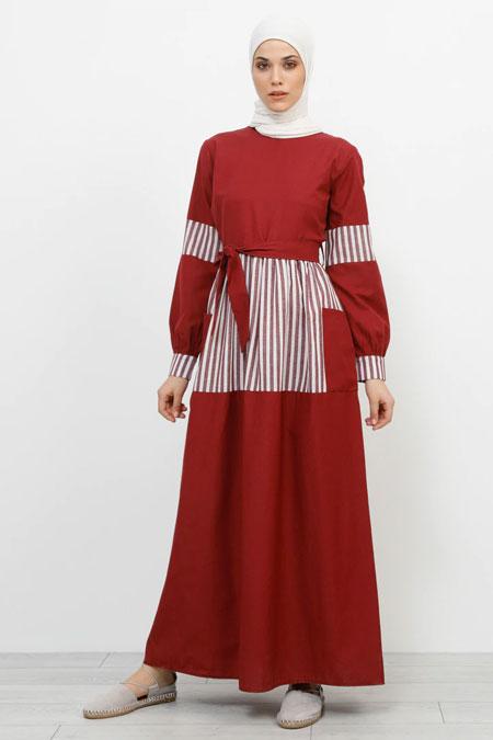 Refka Bordo Cep Detaylı Çizgili Elbise