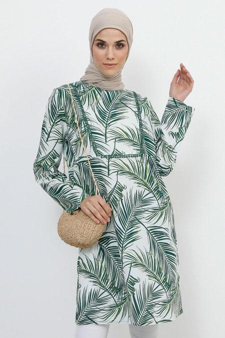 Refka Çimen Yeşili Doğal Kumaşlı Desenli Tunik