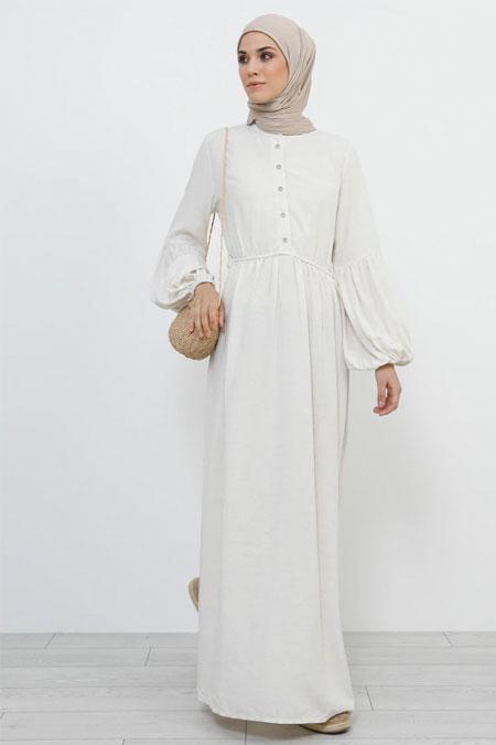 Refka Ekru Doğal Kumaşlı Beli Lastikli Elbise
