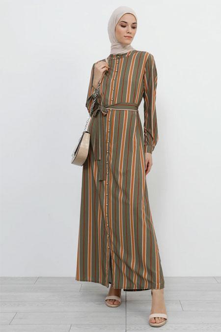 Refka Haki Boydan Düğmeli Çizgili Elbise