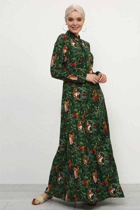 Refka Haki Doğal Kumaşlı Gizli Düğmeli Elbise