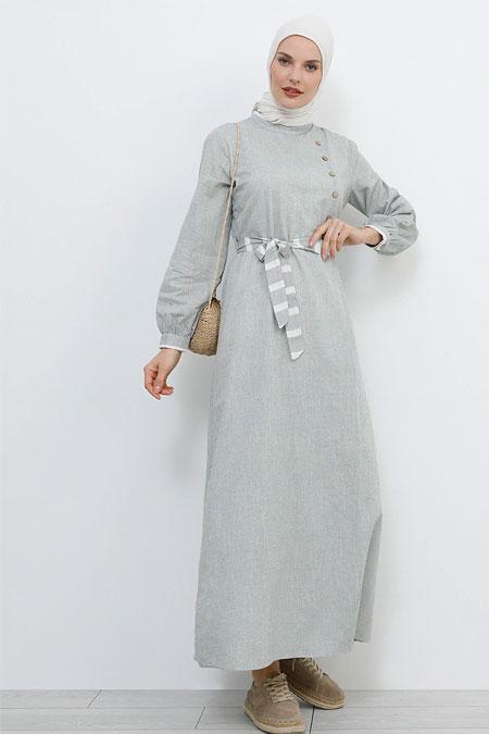 Refka Haki Düğme Detaylı Pamuklu Elbise