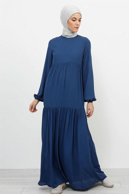 Refka İndigo Kol Ucu Lastikli Elbise