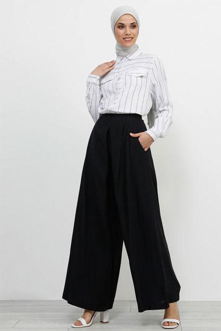 Refka Koyu Lacivert Doğal Kumaşlı Pantolon Etek