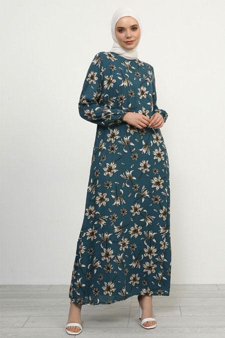 Refka Petrol Doğal Kumaşlı Çiçekli Elbise