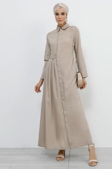 Refka Vizon Boydan Gizli Düğmeli Elbise