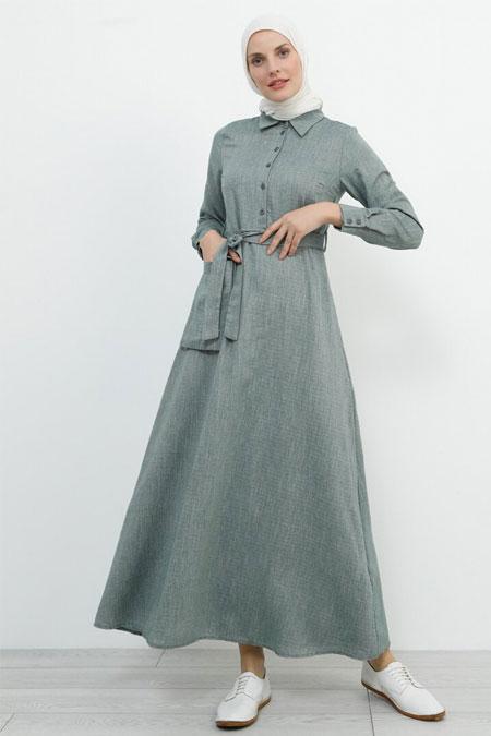 Refka Zümrüt Doğal Kumaşlı Cep Detaylı Elbise