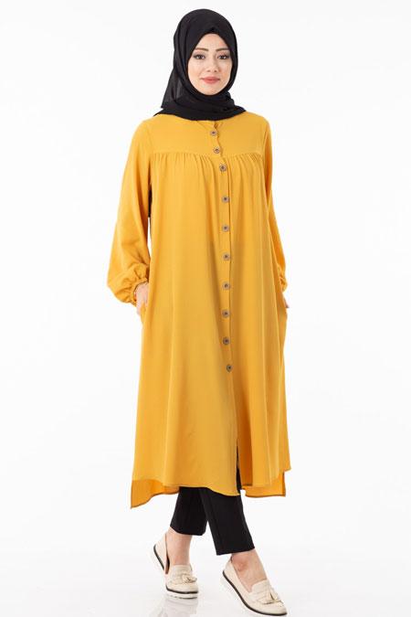 Sarı Uzun Düğmeli Tesettür Tunik