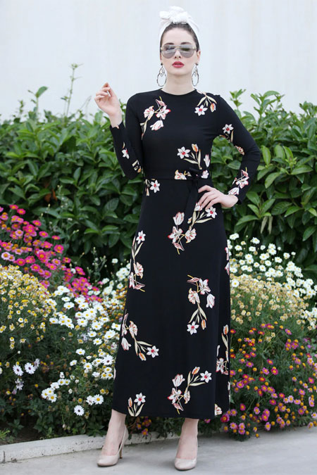 Selma Sarı Design Siyah Taş Rengi Lale Elbise